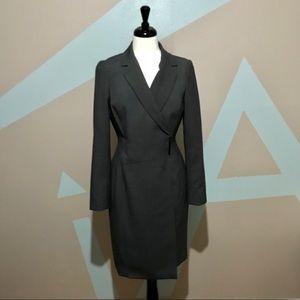 Calvin Klein Gray Wrap Career Long Sleeve Dress 8